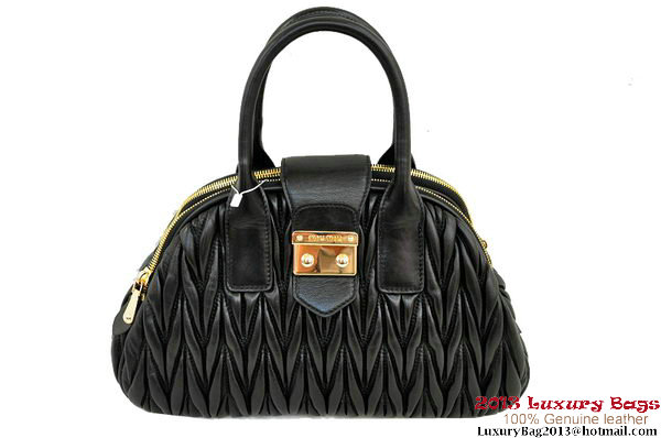 miu miu RL0073 Matelasse Shiny Leather Top Handle Bag Black