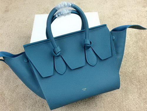 Celine Tie Nano Top Handle Bag Grainy Leather 98313 Blue