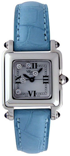 Chopard Happy Sport Series Diamond Steel Ladies Swiss Quartz Wristwatch 278892-23 in Blue