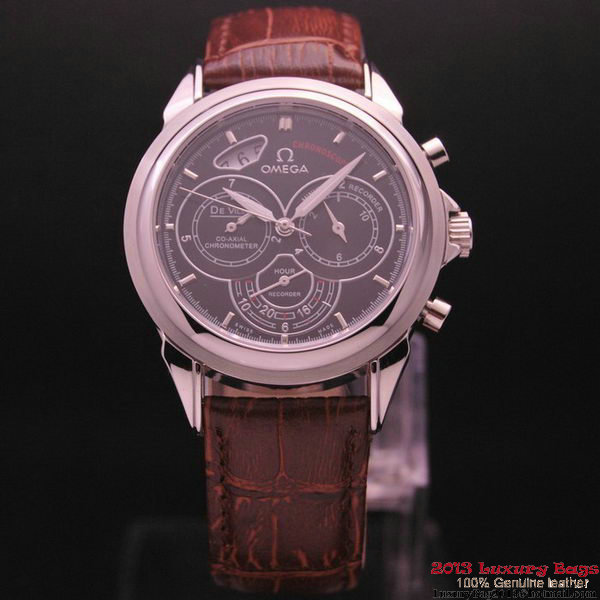 OMEGA DE VILLE CO-AXIAL CHRONOSCOPE Steel on Brown Leather Strap OM77410