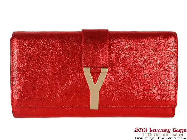 Yves Saint Laurent Belle De Jour Iridescent Leather Cluth YSL002 Red