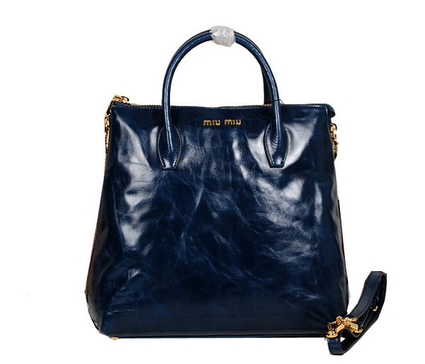 miu miu Shiny Calf Leather Tote Bag 33600 RoyalBlue