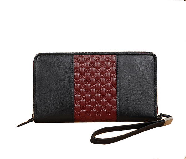 Gucci Calf Leather Mens Clutch 906 Black&Red
