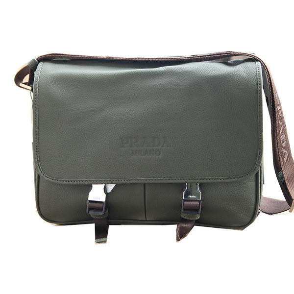 Prada Grainy Calf Leather Messenger Bag VA0768 Dark Green