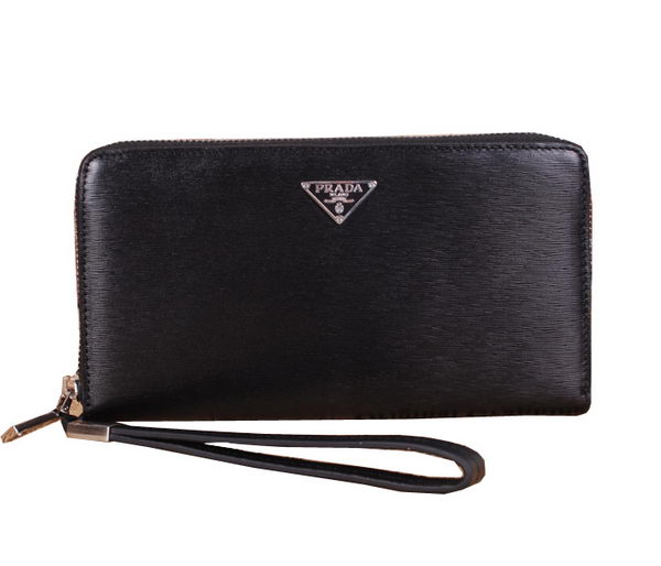Prada Saffiano Leather Zippy Wallet P601 Black