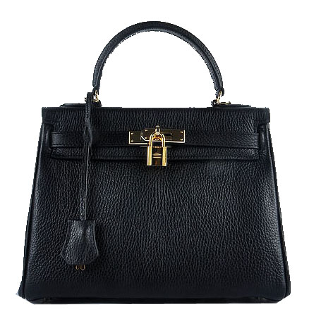 Hermes Kelly 28cm Shoulder Bags Black Grainy Leather Gold