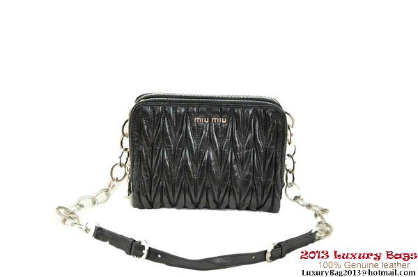 miu miu Matelasse Waxed Shiny Calf Leather Shoulder Bag RT0531 Black