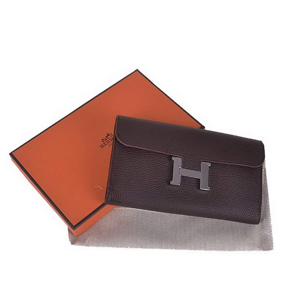 Hermes Constance Long Wallets Brown Calfskin Leather Silver
