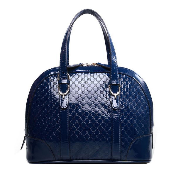 Gucci Nice Patent Microguccissima Leather Small Top Handle Bag 309617 Blue