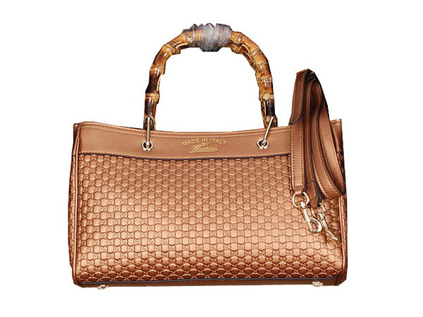Gucci Bamboo Tote Bag Shiny Microguccissima Leather 323660 Gold