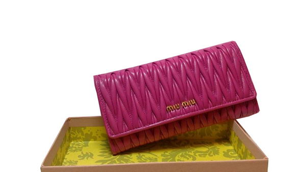 miu miu Matelasse Original Sheepskin Leather Wallet M1109 Rose