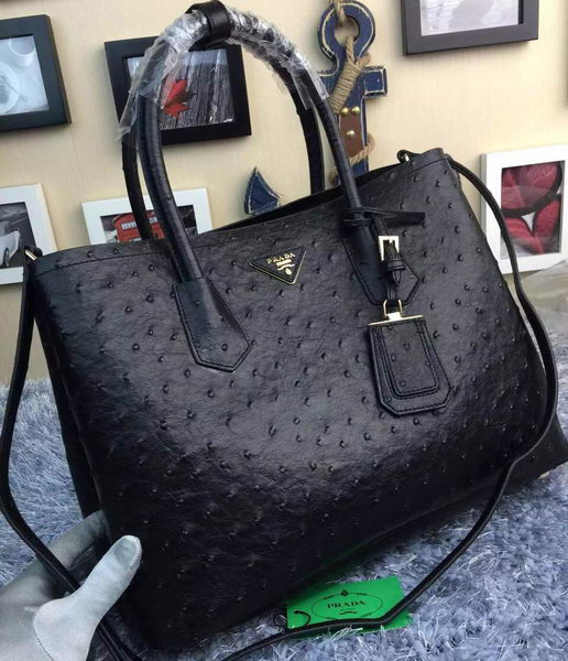 Prada Ostrich Leather Tote Bag BN2756 Black