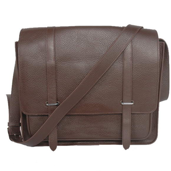 Hermes Steve 35CM Messenger Bag Clemence Leather Brown