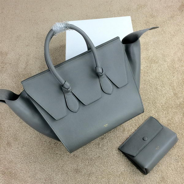 Celine Tie Top Handle Bags Original Leather 98314 Grey