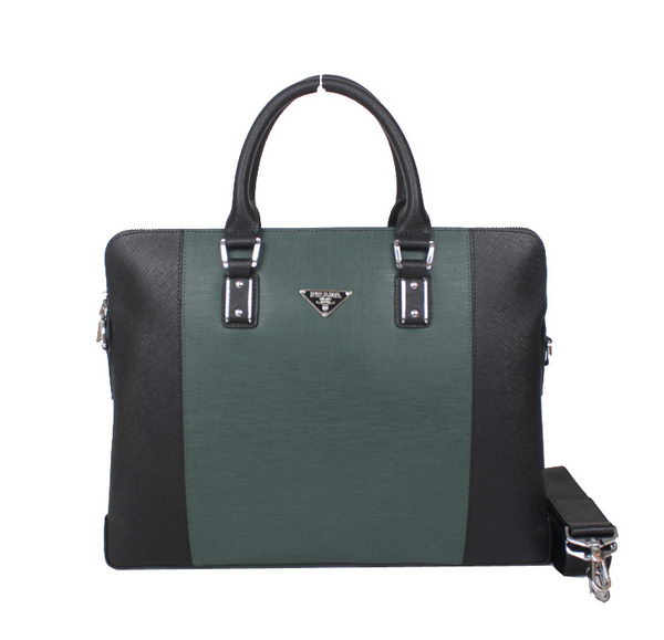 Prada Calf Leather Briefcase S0118 Green&Black
