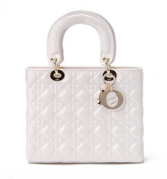 buy Cheap Christian Dior White Patent Leather Mini Lady Dior Bag Gold