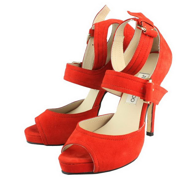 Jimmy Choo Suede Leather Ankle Strap Sandals Red
