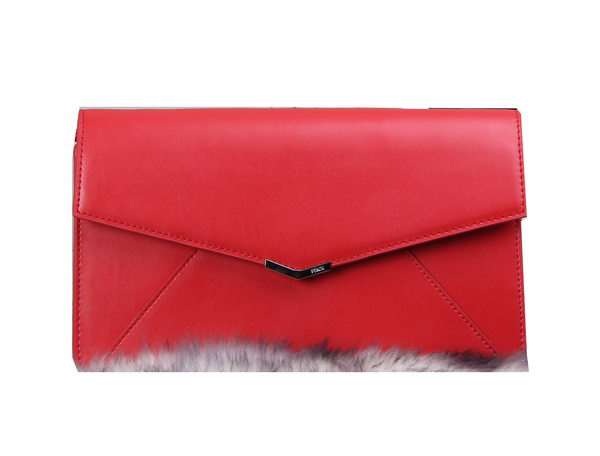 Fendi 2Jours Clutch Calfskin Leather 8M0312 Red
