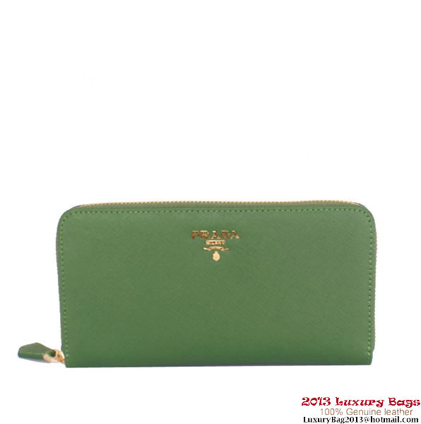 Knock Off 1M0506 Green Prada Saffiano Calf Leather Wallet