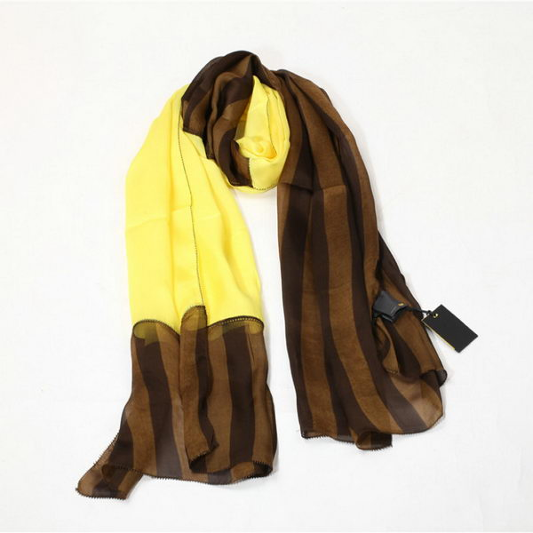 Fendi Scarves Silk WJFD04 Yellow&Brown