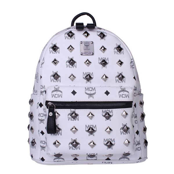 MCM Stark Studded Small Backpack MC2089S White