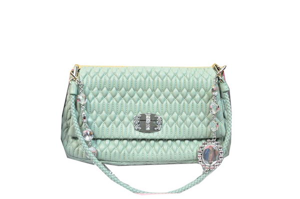miu miu Matelasse Lambskin Leather Shoulder Bag RT0223 Light Blue