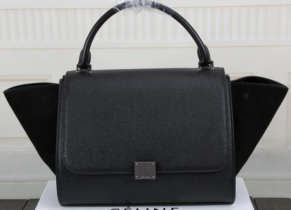 Celine Trapeze Bag Original Litchi Leather CT3342 Black