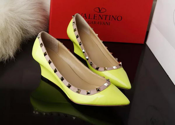 Valentino Patent Leather Rivet 65mm Pump VT280YZM Yellow