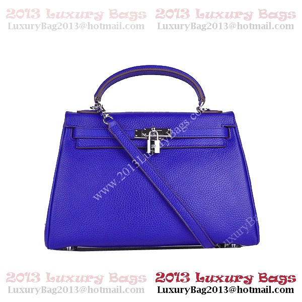 Hermes Kelly 32cm Shoulder Bags Blue Clemence Leather Silver