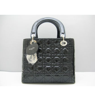 Dior Lady Dior Medium Patent Top Handle Bag Black