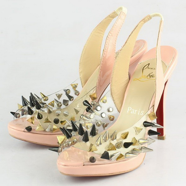 Christian Louboutin Pigalle Spikes Studded Peep-Toe Sandals CL9787 Pink