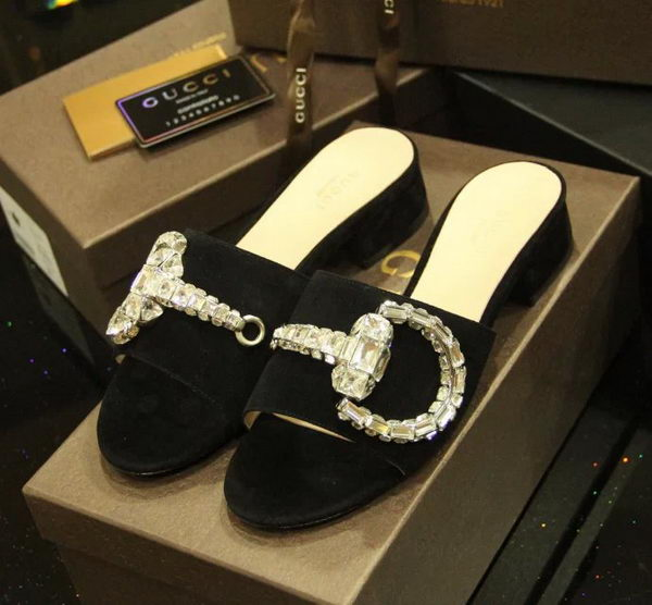 Gucci Suede Leather Sandal GG0437CK Black