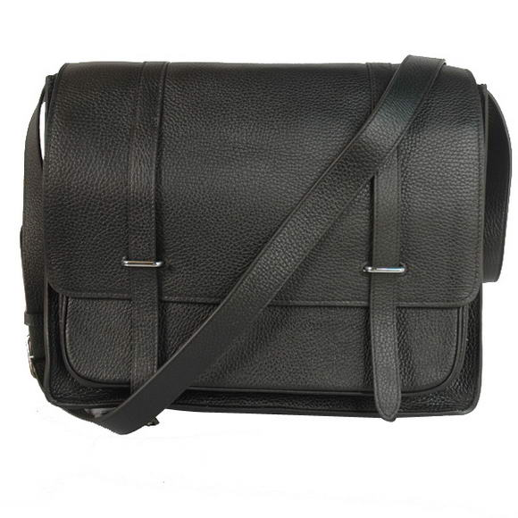 Hermes Steve 35CM Messenger Bag Clemence Leather Black