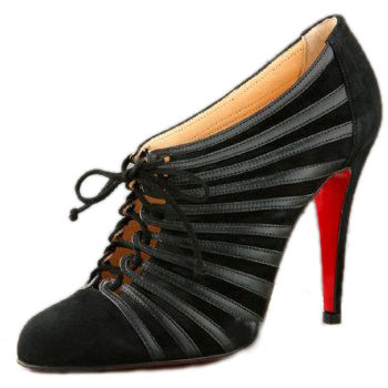 Christian Louboutin Leather Lace Up Ankle Boots Black