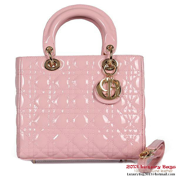 Lady Dior Bag mini Bag D9601 Light Pink Patent Leather Gold