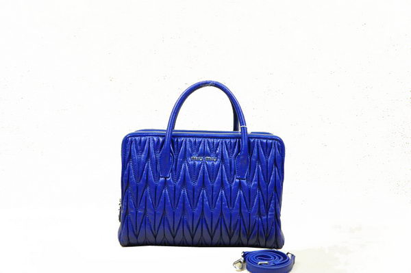 miu miu Matelasse Sheepskin Leather Three Pocket Bag RN0951 RoyalBlue