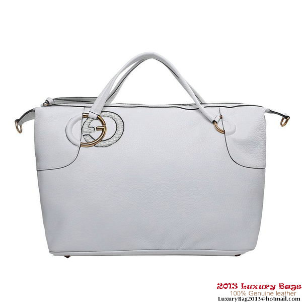 Gucci 309529 A7MPT 9022 Twill White Leather Top Handle Bag