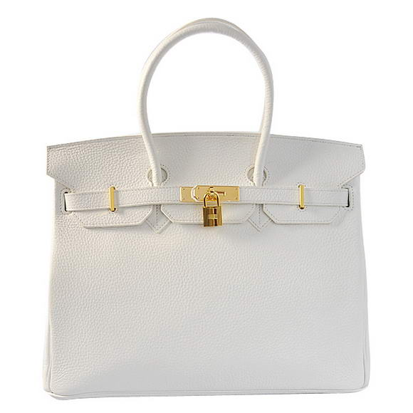 Hermes Birkin 35CM Tote Bags Togo Leather White Golden