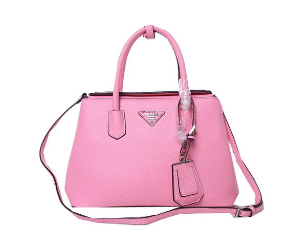 Prada Twin Grainy Leather Tote Bag BN1218 Pink