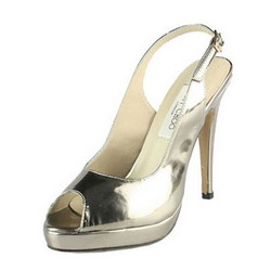 Jimmy Choo Patent Leather Slingbacks Sandals Silver