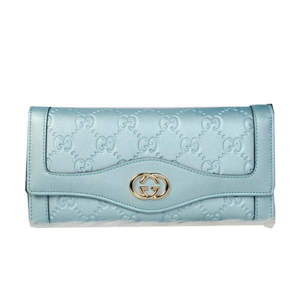 Gucci Double G Continental Iridescent Leather Wallet 9526 Light Blue
