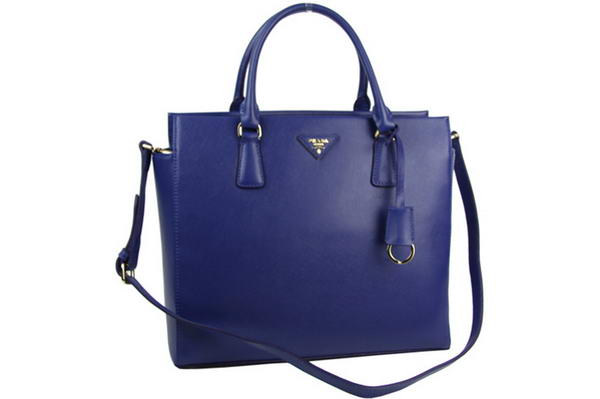 Prada BN2259 Tote Saffiano Leather Black Bag Blue