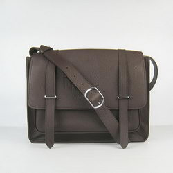 Hermes Jypsiere Togo Leather Messenger Bag Dark Coffee
