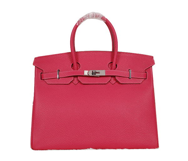 Hermes Birkin 35CM Tote Bag Rose Clemence Leather H35 Silver