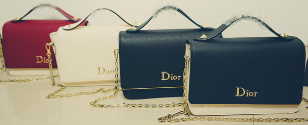 Dior Litchi Leather Flap Shoulder Bag D8219