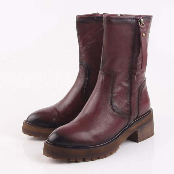 Valentino Calfskin Leather Ankle Boot VT206 Burgundy