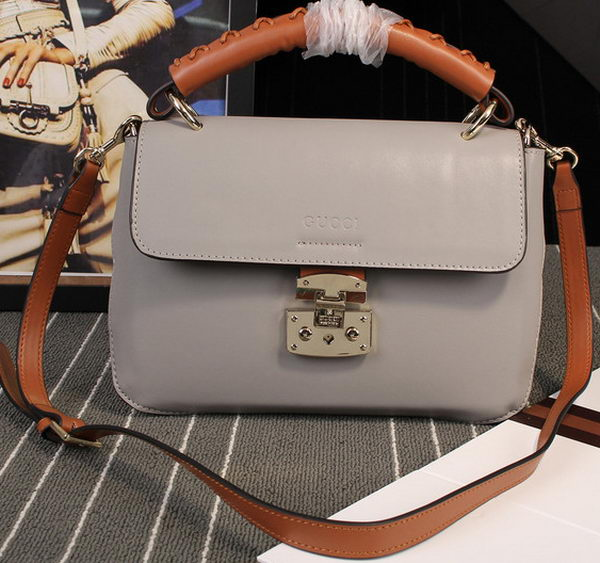 Gucci Clafskin Leather Top Shoulder Bag 387652 Grey