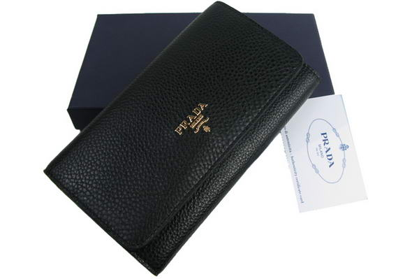 Prada Dressed Leather Long Continental Wallet 1M608A Black
