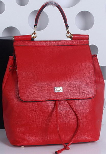 Dolce & Gabbana SICILY Litchi Leather Backpack BB4186 Red