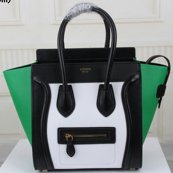 Celine Luggage Micro Boston Bag Original Leather CT3308M White&Black&Green